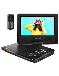 APEMAN 7.5'' Portable DVD Player for Kids and Car Swivel Screen Support SD Card USB CD DVD with AV Input/Output and Earphone Port 4 Hours Built in Rechargeable Battery