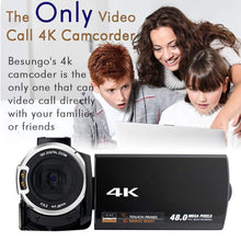 "Load image into Gallery viewer, BESUNGO 4K Camcorder, Video Camera, Live Streaming Vlogging YouTube Recorder Camera 60FPS 48MP Ultra HD WiFi IR Night Vision 3.0"" IPS Touch Screen with Microphone, Wide Angle Lens, LED Video Light"