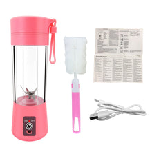 Load image into Gallery viewer, Portable Blender USB Rechargeable, Small Blender Single Serve, Personal Size Blender Travel Blender Juicer Cup 380ml (FDA, BPA free) (Pink)