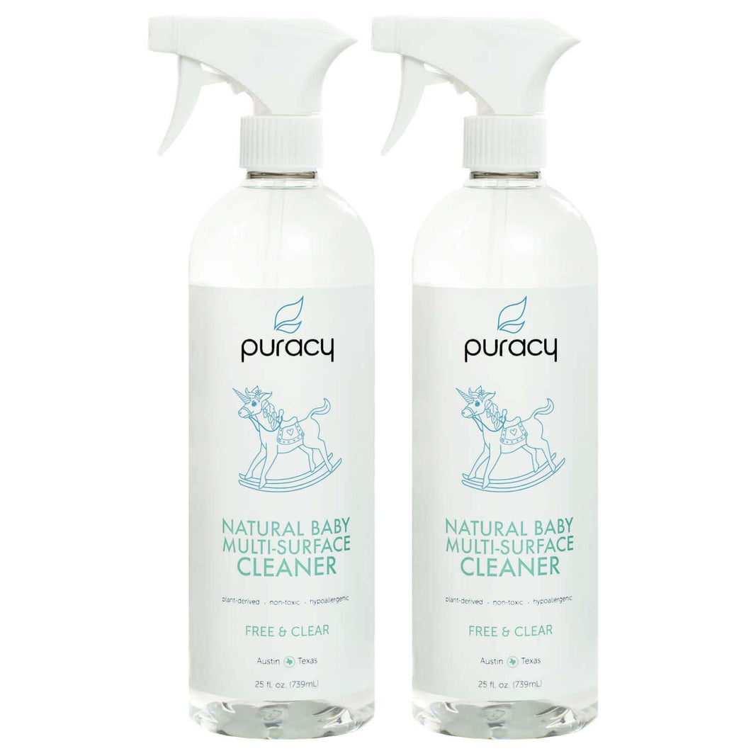 Puracy Natural Baby Multi-Surface Cleaner, Food-Safe, Nontoxic, Free & Clear, 25 Ounce (2-Pack)