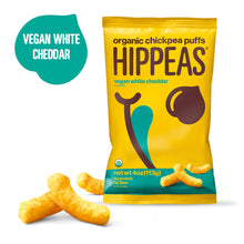 Load image into Gallery viewer, HIPPEAS Organic Chickpea Puffs + Vegan White Cheddar | 4 ounce, 6 count |