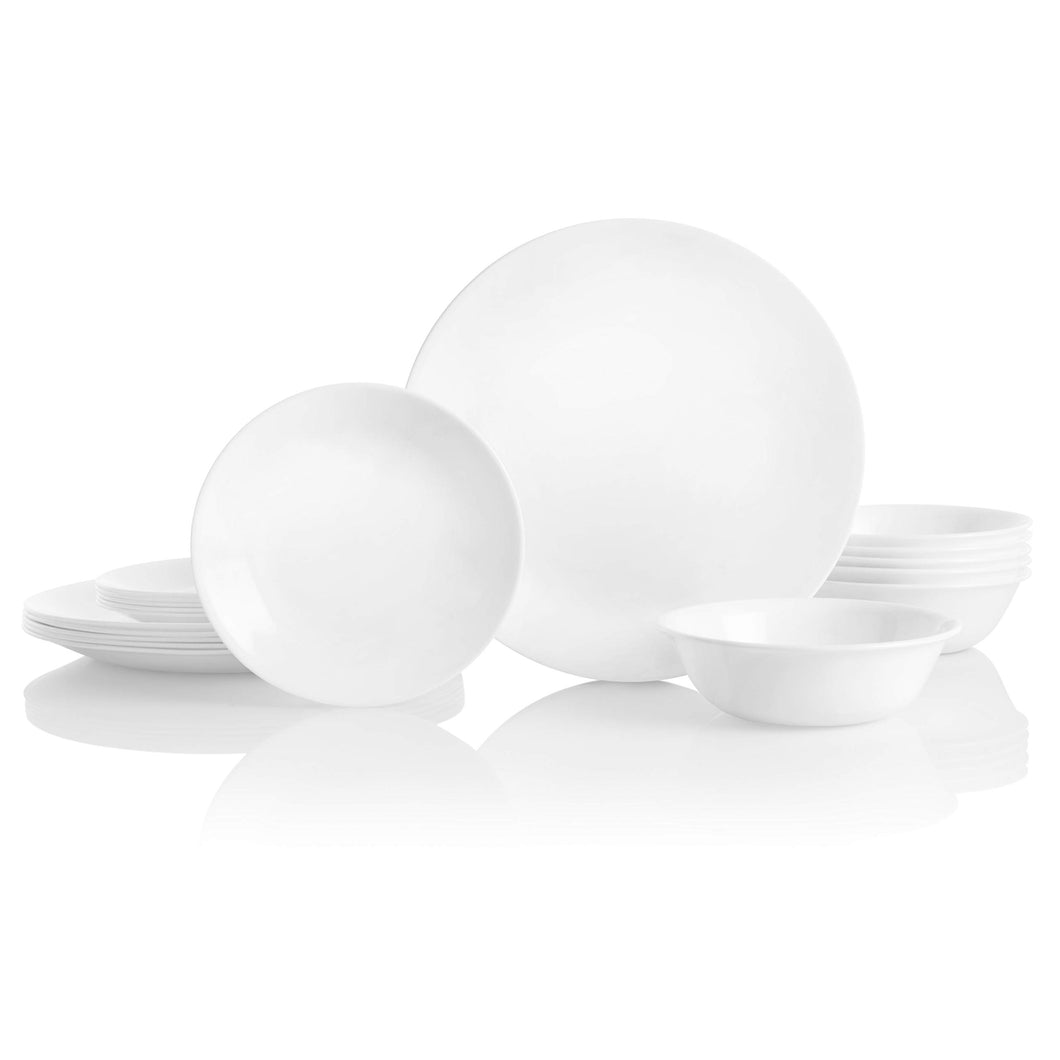 Corelle Service for 6, Chip Resistant, Winter Frost White Dinnerware Set, 18-Piece,