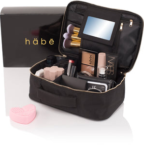 häbe Travel Makeup Bag with Mirror - Premium Vegan Designer Make Up Bag Organizer Train Case for Women - Stores More than 3 Cosmetic Bags, Make Up Bags or Make Up Cases (Large, Black, 11.4x7.5x3.9 in)