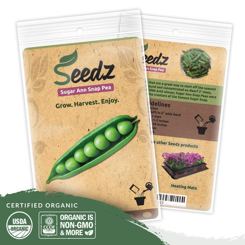 Organic Pea Seeds (APPR. 225) Sugar Ann Snap Pea - Heirloom Vegetable Seeds - Certified Organic, Non-GMO, Non Hybrid - USA