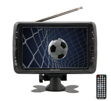 "Load image into Gallery viewer, Milanix MX7 7"" Portable Battery Powered Widescreen LCD Handheld TV with AC/DC, Detachable Antennas, USB/SD Card Slot, Built in Digital Tuner, and AV Inputs"