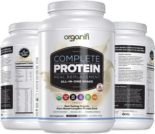Organifi: Complete Protein - Vegan Protein Powder - Organic Plant Based Protein Drink - Soy, Dairy, and Gluten Free - Digestive Enzymes - Complete Vanilla Flavor - 30 Day Supply