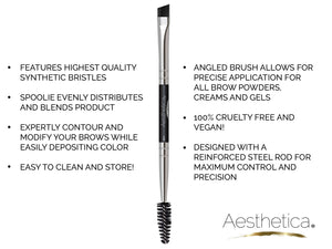 Aesthetica Pro Series Double Ended Brow Brush/Spoolie - Precision Application & Blending of Brow Powders, Waxes and Gels - Vegan and Cruelty Free