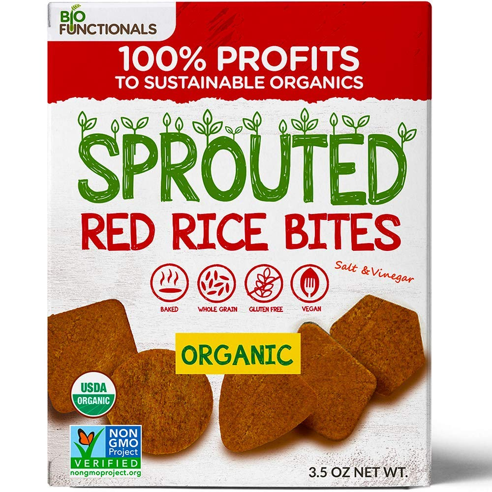 Biofunctionals Organic Sprouted Red Rice Snacks, Gluten Free & Vegan Crackers, 3.5 Ounce Box