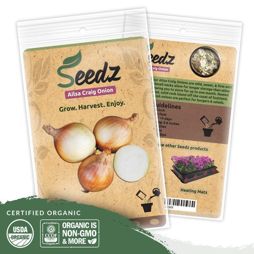 Organic Onion Seeds, APPR. 225, Ailsa Craig Onion, Heirloom Vegetable Seeds, Certified Organic, Non GMO, Non Hybrid, USA