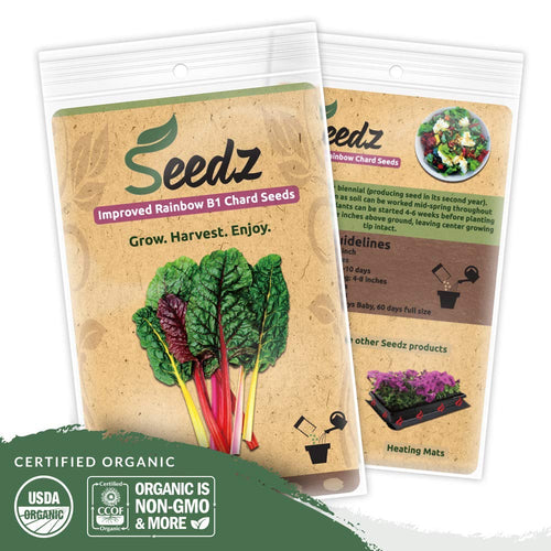 Organic Chard Seeds (APPR. 225) Rainbow Swiss Chard - Heirloom Vegetable Seeds - Certified Organic, Non-GMO, Non Hybrid - USA