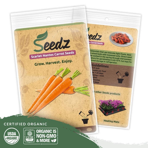 Organic Carrot Seeds (APPR. 1,550) Carrot Planting Seeds - Heirloom Vegetable Seeds - Certified Organic, Non-GMO, Non Hybrid - USA