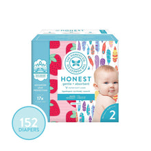 Load image into Gallery viewer, The Honest Company Super Club Box Diapers - Size 2 - Painted Feathers & Strawberries Print | TrueAbsorb Technology | Plant-Derived Materials | Hypoallergenic | 152 Count