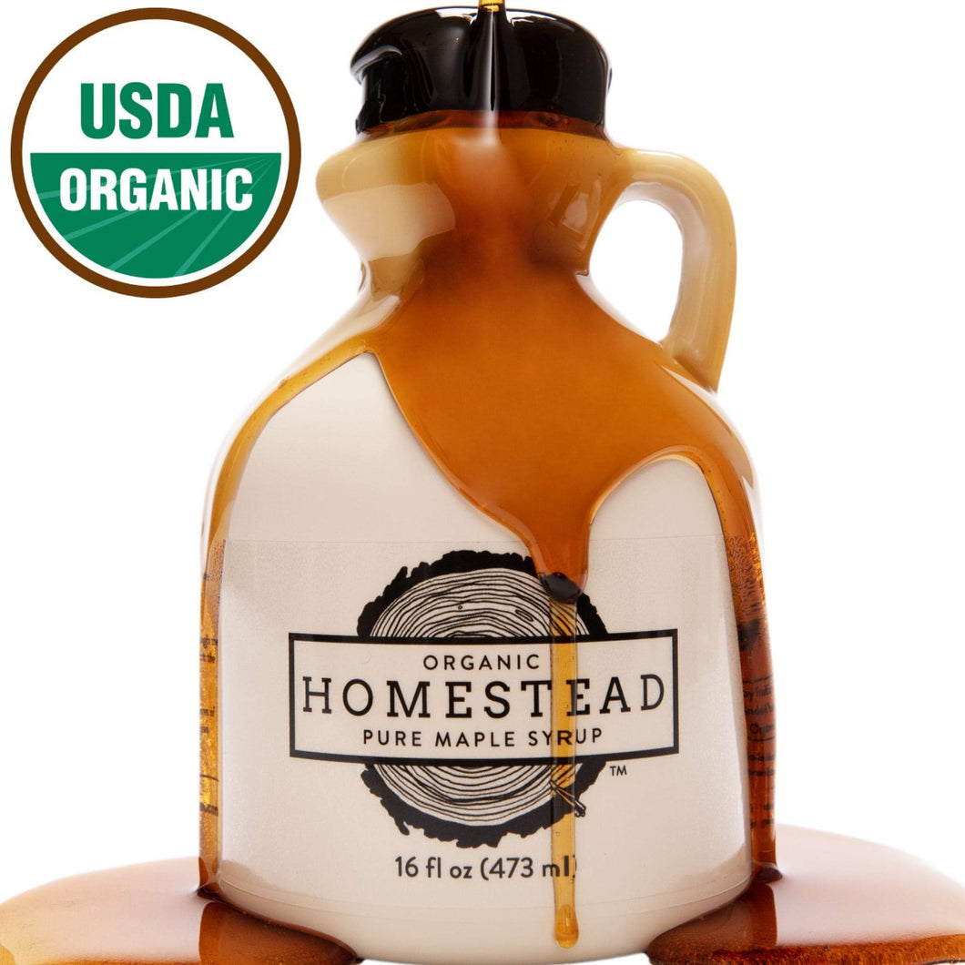 Homestead Organic Maple Syrup, Real and Pure USDA Organic Grade A Dark Maple Syrup, Homemade in Wisconsin, 16-Ounce Jug (Formerly Grade B)