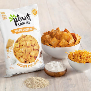 Plant Snacks VEGAN Cheddar Mix Cassava Root Chips, Vegan, Big-8 Allergen Free, Non-GMO Project Verified, Gluten Free, Grain Free, No Added Sugar, 5 oz Bags, Pack of 3