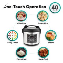 Load image into Gallery viewer, Aroma Housewares 20 Cup Cooked (10 cup uncooked) Digital Rice Cooker, Slow Cooker, Food Steamer, SS Exterior (ARC-150SB)
