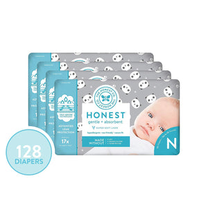 The Honest Company Diapers - Newborn Diapers, Size 0 - Pandas Print | TrueAbsorb Technology | Plant-Derived Materials | Hypoallergenic | 128 Count