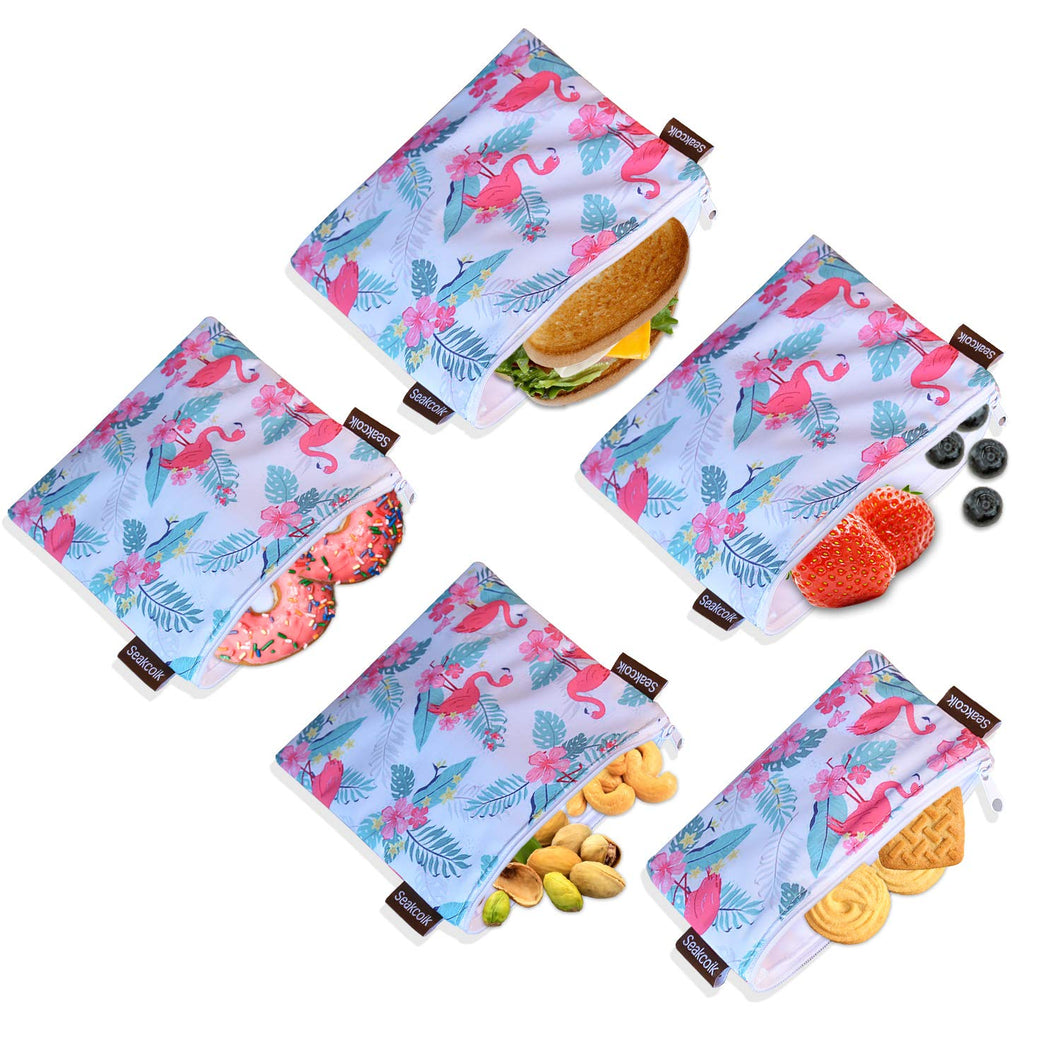 Reusable Sandwich Snack Bags Eco-Friendly Dishwasher Safe Lunch Bags for Fruits Vegetables with Zipper Set of 5