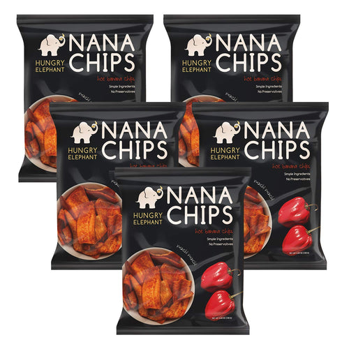 Nana Chips Unsweetened Banana Chips - Hot Snacks (5 Pack) - Organic, Vegan, Gluten-Free, High Potassium, All Natural Ingredients - Similar tasting to Plantain Chips - 4.9 Oz. Bags - by Hungry Elephant