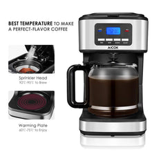 Load image into Gallery viewer, AICOK Coffee Maker, 12 Cups Programmable Drip Coffee Maker with Coffee Pot, Coffee Machine with Timer, Anti-Drip Design, Permanent Filter Coffee Maker, 1.8 Liter Glass Carafe, 900W
