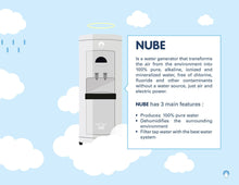 Load image into Gallery viewer, NUBE: Air to Water Generator 30L/day - Alkaline + Ionized - Fluoride Free - 100% Healthy - Ecological & Sustainable - Carbon + Osmosis Filter - UV - Cooler + Heater Dispenser - Dehumidifier (White)