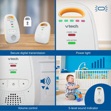 Load image into Gallery viewer, VTech DM111 Audio Baby Monitor with up to 1,000 ft of Range, 5-Level Sound Indicator, Digitized Transmission & Belt Clip