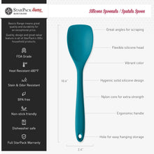 "Load image into Gallery viewer, StarPack Basics Silicone Kitchen Utensil Set (5 Piece Set, 10.5"") - High Heat Resistant to 480°F, Hygienic One Piece Design Spatulas, Serving and Mixing Spoons (Teal Blue)"