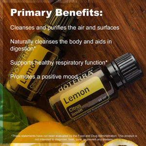 doTERRA - Lemon Essential Oil - Supports Healthy Respiratory Function, Energized and Positive Mood, Refreshing Natural Cleansing and Digestive Benefits; For Diffusion, Internal, or Topical Use - 15 mL