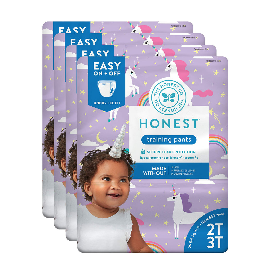 The Honest Company Toddler Training Pants, Unicorns, 2T/3T, 104 Count