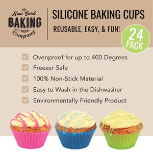 NY Baking Co. Silicone Baking Cups, Reusable Cupcake Liners, Stand Alone Pan,Free and Non Stick, Muffin Liners 24 Count