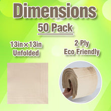 Load image into Gallery viewer, Recycled Post Consumer Napkins, Compostable Biodegradable Unbleached Eco Lunch Napkins, 50 PCS Disposable Dinner Napkin