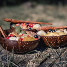 Load image into Gallery viewer, Set of 4 Vietnamese Coconut Bowls & Spoons by Okey Kitchen | 100% Natural, Organic, Eco-Friendly, Vegan, Buddha Smoothie Coco Bowls & Spoons from Ben Tre Artisan Craft