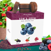 Load image into Gallery viewer, Nature's Blossom Fruit Growing Kit. Grow 4 Types of Berries from Seed: Raspberries, Blueberries, Goji Berry, Blackberries Organic Seeds, Pots, Seed Starting Soil, Markers, Gardening Guide