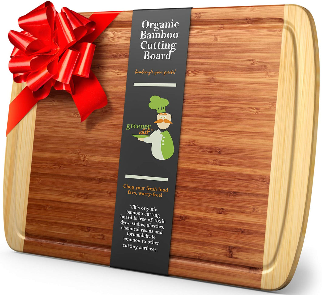Greener Chef Extra Large Bamboo Cutting Board - Lifetime Replacement Cutting Boards for Kitchen - 18 x 12.5 Inch - Organic Wood Butcher Block and Wooden Carving Board for Meat and Chopping Vegetables