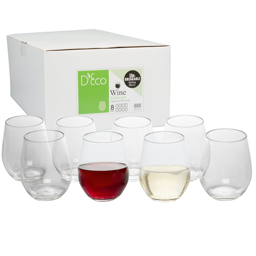 Unbreakable Wine Glasses - 100% Tritan - Shatterproof, Reusable, Dishwasher Safe (Set of 8 Stemless) by D'Eco