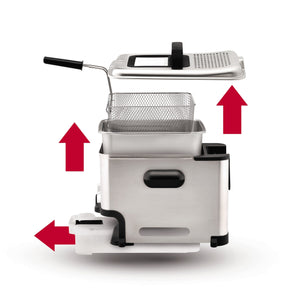 T-fal Deep Fryer with Basket, Stainless Steel, Easy to Clean Deep Fryer, Oil Filtration, 2.6-Pound, Silver, Model FR8000