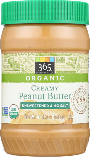 365 Everyday Value, Organic Creamy Peanut Butter, Unsweeteend & No Salt, 16 oz