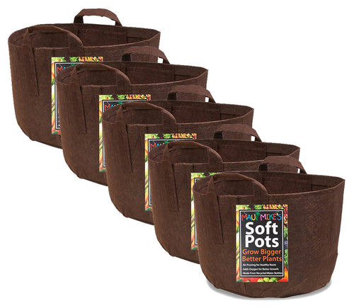 Soft POTS (3 Gallon) (5 Pack) Best Aeration Fabric Garden Pots from Maui Mike's. Thicker Hemp Material and Recycled from Plastic Water Bottles. Eco Friendly.