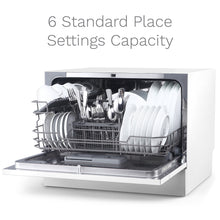 Load image into Gallery viewer, hOmeLabs Compact Countertop Dishwasher - Energy Star Portable Mini Dish Washer in Stainless Steel Interior for Small Apartment Office and Home Kitchen with 6 Place Setting Rack and Silverware Basket