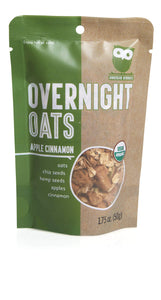 Overnite Organics Apple Cinnamon Overnight Oats, USDA Organic, Vegan Friendly, Good Source of Protein, High Fiber, 1.75oz (Pack of 10)
