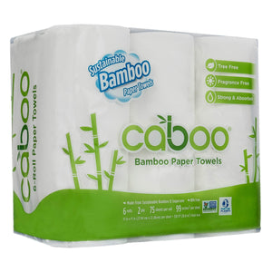 Caboo Tree Free Bamboo Paper Towels, 6 Rolls, Earth Friendly & Sustainable Kitchen Paper Towels with Strong 2 Ply Sheets