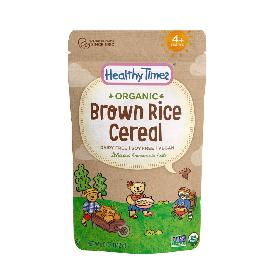 Healthy Times Organic Whole Grain Baby Cereal, Brown Rice | Baby Food for Babies 4 Months & Older | 5 Oz. Bag, 1 Count