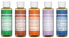 Load image into Gallery viewer, Dr. Bronner's 4 Ounce Sampler- 5 Piece Gift Set. 5, 4 Ounce Castile Liquid Soaps in Almond, Eucalyptus, Tea Tree, Lavender, and Peppermint