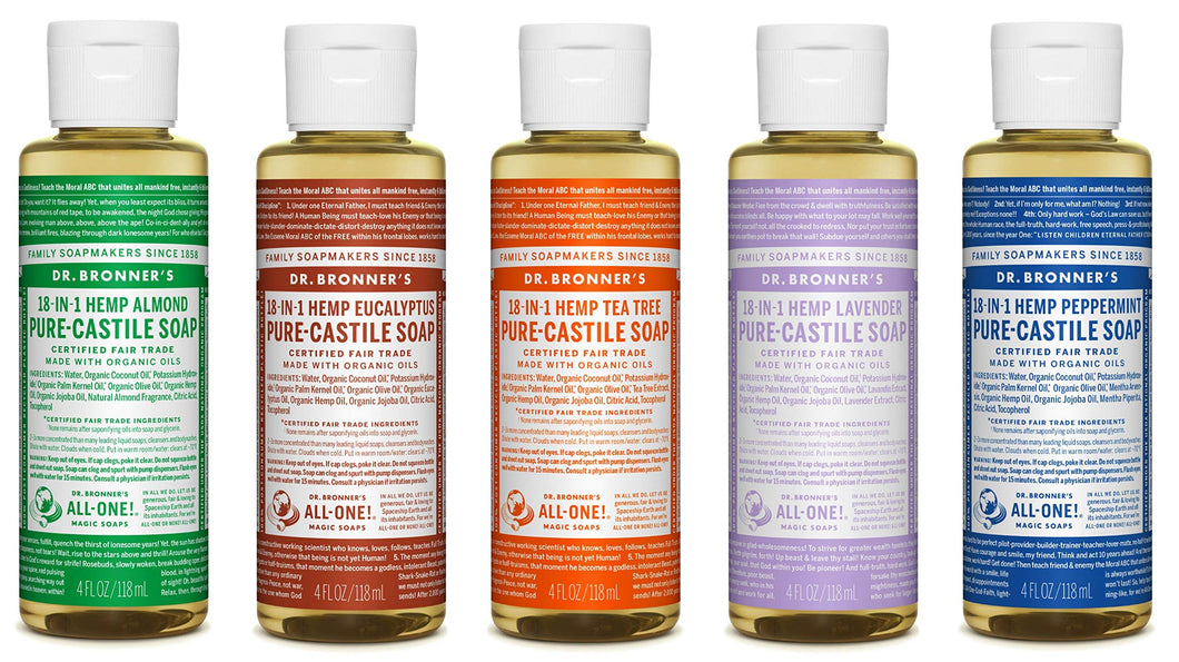 Dr. Bronner's 4 Ounce Sampler- 5 Piece Gift Set. 5, 4 Ounce Castile Liquid Soaps in Almond, Eucalyptus, Tea Tree, Lavender, and Peppermint