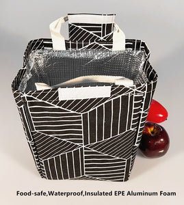 TIBAOLOVER Lunch Bag,Non-Toxic Eco-Friendly Canvas Fabric Insulated Waterproof Aluminum Foil, Lunch Box Tote for Women,Students Bento Cooler Bag for Travel and Picnic(Geometric Pattern-Black)