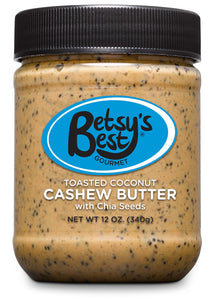 Gourmet Toasted Coconut Cashew Butter by Betsy's Best - Non-GMO - Toasted Coconut, Chia Seeds, Organic Stevia & Demerara Sugar, Vegan Friendly, Best Tasting Nut Butter for Kids Snacks