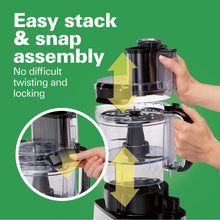 Load image into Gallery viewer, Hamilton Beach 70725A 12-Cup Stack & Snap Food Processor and Vegetable Chopper, Black