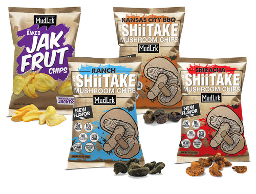 MudLrk Family Pack - Crunchy Whole Mushroom Snacks and Baked Jackfruit Chips- Non-GMO, Vegan, Gluten-Free, Plant Based Vegan Chips