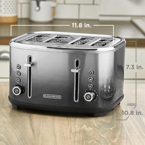 BLACK+DECKER 4-Slice Extra-Wide Slot Toaster, Stainless Steel, Ombré Finish, TR4310FBD
