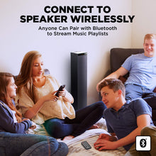Load image into Gallery viewer, GOgroove Bluetooth Tower Speaker with Built-in Subwoofer - BlueSYNC STW Standing Speaker Tower with Thumping Bass, Immersive 120W Peak Power, AUX, Flash Drive MP3, FM Radio, USB Charging (Single Unit)