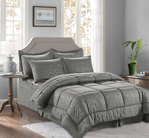 Elegant Comfort Luxury Bed-in-a-Bag Comforter Set on Amazon Wrinkle Resistant - Silky Soft Bamboo Pattern Complete Bed-in-a-Bag 8-Piece Comforter Set -Hypoallergenic- Full/Queen, Grey